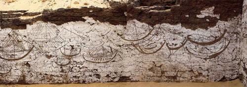 Mural de barcos egípcios com 3800 anos